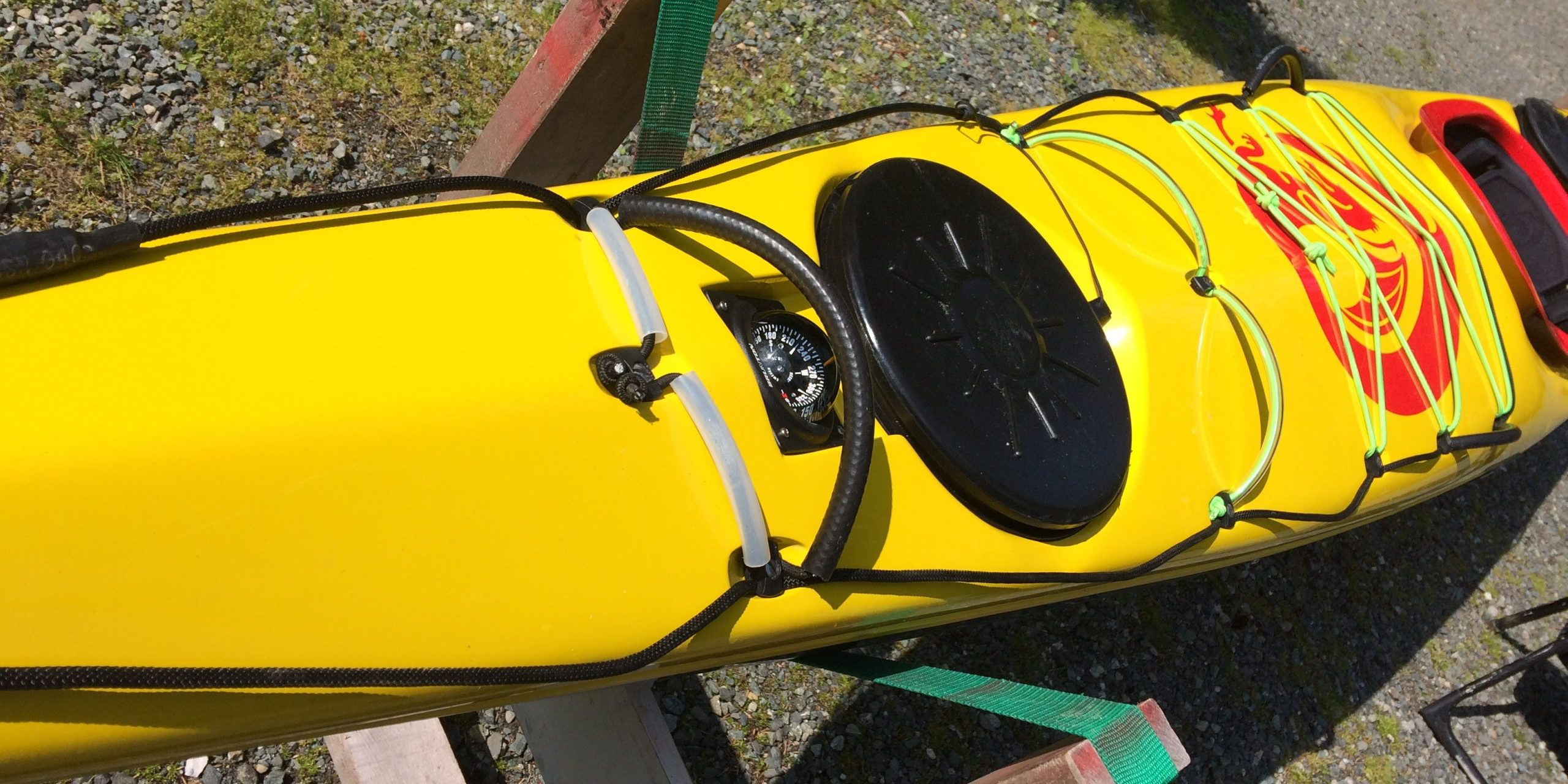 A decked out sea kayak.