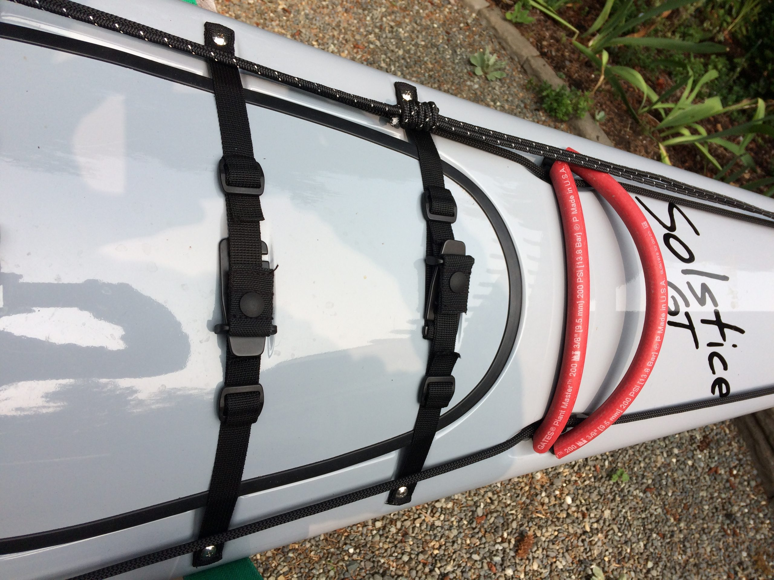 Deck of kayak showing a Paddle Park